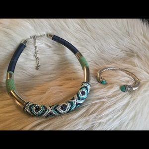 Beaded Collar Necklace w/ Matching Silvertone Cuff